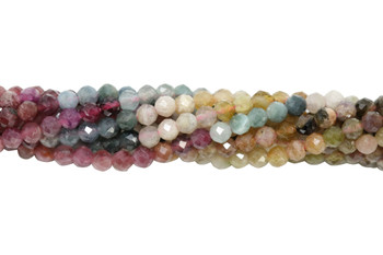 Tourmaline Multi Color Polished 3mm Faceted Round