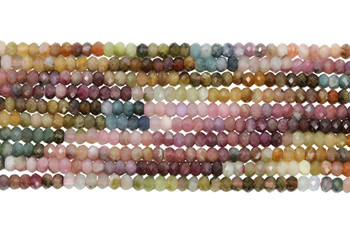 Tourmaline Multi Color Polished 3mm Faceted Rondel