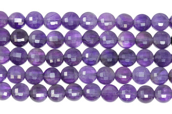 Amethyst A Grade Polished 8mm Faceted Coin