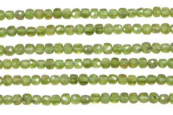 Peridot Polished 4mm Faceted Cube