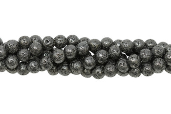 Lava Rock Gunmetal Plated 6mm Round
