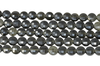 Black Obsidian Polished 6mm Faceted Coin