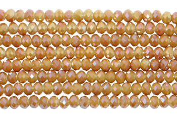 Glass Crystal Polished 4x6mm Faceted Rondel - Opaque Yellow / Peach Plated