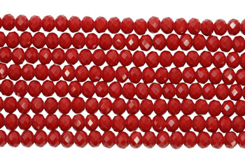 Chinese Crystal Polished 4x6mm Faceted Rondel - Red