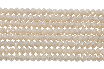 Glass Crystal Polished 4x5.5mm Faceted Rondel - Cream Satin