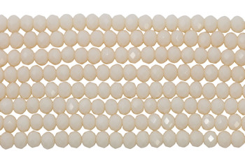 Glass Crystal Polished 4x6mm Faceted Rondel - Opaque Cream