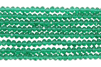 Glass Crystal Polished 4x5.5mm Faceted Rondel - Transparent Emerald Green