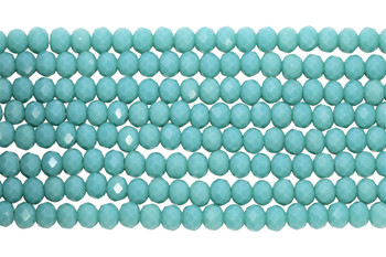 Glass Crystal Polished 4x6mm Faceted Rondel - Opaque Turquoise