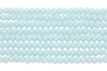 Glass Crystal Polished 4x6mm Faceted Rondel - Opaque Light Aquamarine