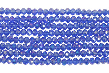 Glass Crystal Polished 4x5.5mm Faceted Rondel - Sapphire AB