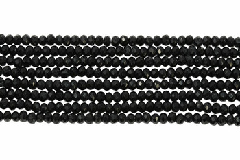 Glass Crystal Polished 1.5x2mm Faceted Rondel - Opaque Black