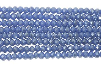 Glass Crystal Polished 4x6mm Faceted Rondel - Denim Satin