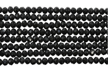Chinese Crystal Polished 4x6mm Faceted Rondel - Black