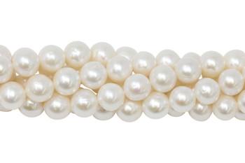 White Freshwater Pearls 9-10mm Semi Round