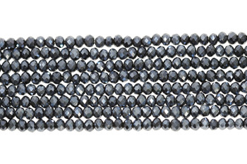 Glass Crystal Polished 2.5x3mm Faceted Rondel - Full Plated Midnight Blue