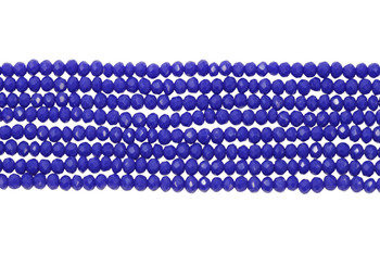 Glass Crystal Polished 2x3mm Faceted Rondel - Opaque Royal Blue