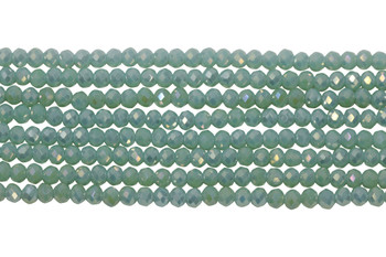 Glass Crystal Polished 2.5x3mm Faceted Rondel - Green Turquoise Satin
