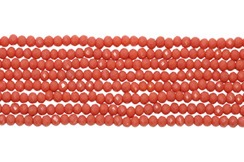 Glass Crystal Polished 2x3mm Faceted Rondel - Pink Coral