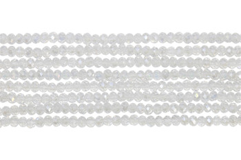 Chinese Crystal Polished 3mm Faceted Rondel - Crystal AB