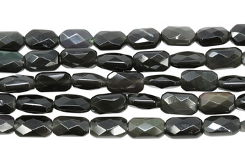 Black Obsidian Polished 9x5mm Faceted Rectangle