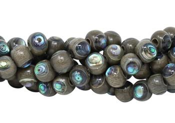 New Zealand Abalone Shell Grey Wood Inlay 10mm Round
