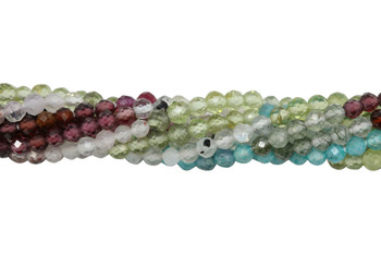 Mixed Gemstones Multi Color Polished 2mm Faceted Round