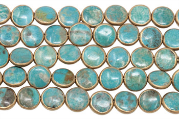 Chinese Turquoise / Gold Polished 10-12mm Coin