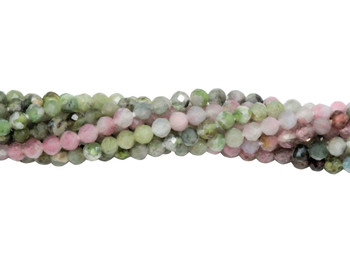 Green / Pink Tourmaline Polished 2mm Faceted Round