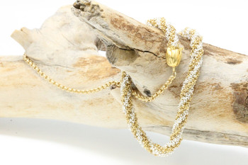Kumihimo Necklace Kit - Silver and Gold Chain