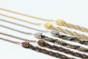 Kumihimo Necklace Kit - Rose Gold and Antique Copper Chain
