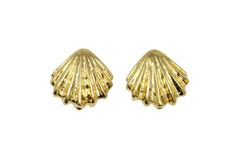 Large Shell Bead  - Gold Plated