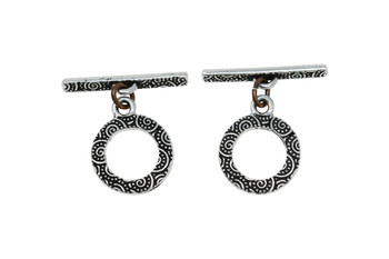 Spiral Toggle Bar and Eye - Silver Plated
