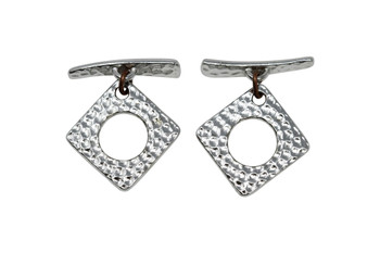 Hammered Square Toggle Bar and Eye - Rhodium Plated