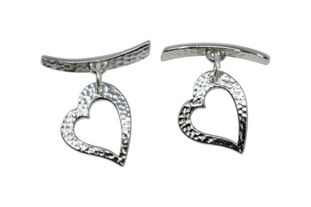 Hammered Heart Toggle Bar and Eye - Rhodium Plated