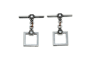 Deco Square Toggle Bar and Eye - Silver Plated