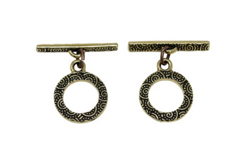 Spiral Toggle Bar and Eye - Gold Plated