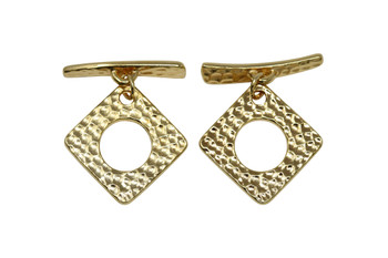Hammered Square Toggle Bar and Eye - Gold Plated