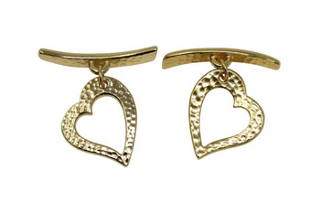 Hammered Heart Toggle Bar and Eye - Gold Plated