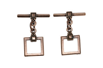 Deco Square Toggle Bar and Eye - Copper Plated