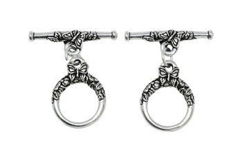 Butterfly Toggle Bar and Eye - Silver Plated