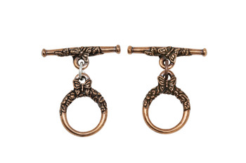 Butterfly Toggle Bar and Eye - Copper Plated