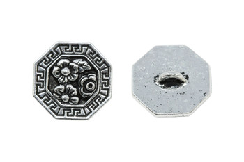 Blossom Button - Silver Plated