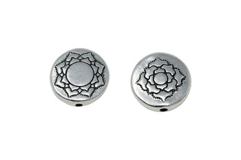 Lotus Puffed Bead - Silver Plated