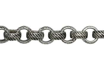 Antique Silver 5mm Textured Rolo Chain - Sold By 6 inches