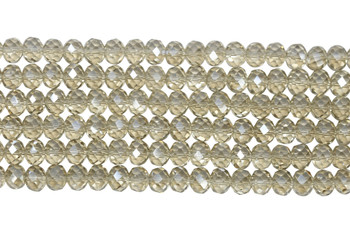 Chinese Crystal Polished 9x7mm Faceted Rondel - Transparent Light Topaz