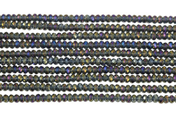 Chinese Crystal Polished 2mm Faceted Rondel - Midnight Iris