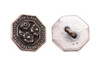 Blossom Button - Copper Plated