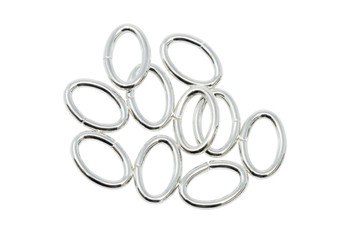 Sterling Silver 6.4x9.6mm Oval 16 Gauge OPEN Jump Rings - 10 Pieces