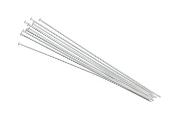 """Sterling Silver 2"""" Long 24 Gauge Head Pins - 10 Pieces"""