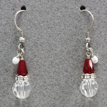 Santa Hat (Swarovski and Czech glass) Earring Kit